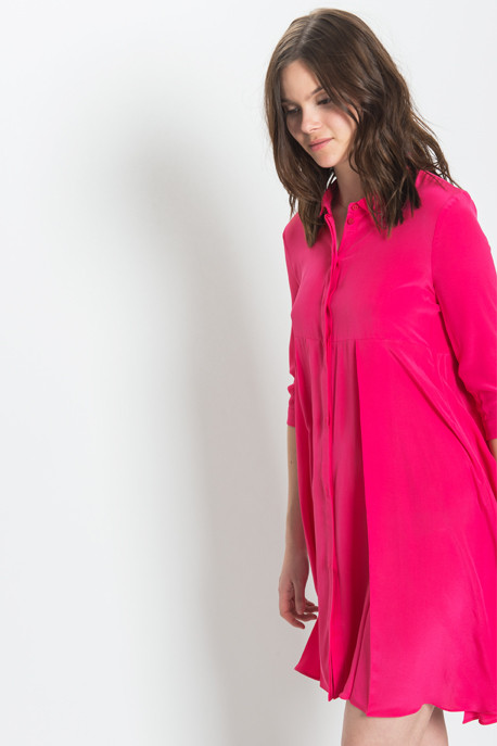 Cacharel - Long Sleeved Pleated Dress in Fuschia