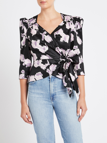 Rebecca Taylor Long Sleeve Ikat Bow Top - Black