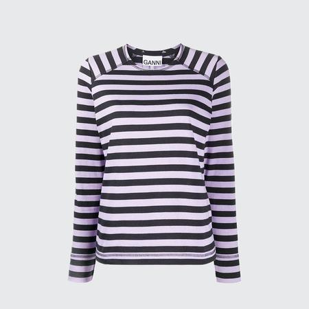 Ganni Striped Jersey Sweatshirt - TULIP