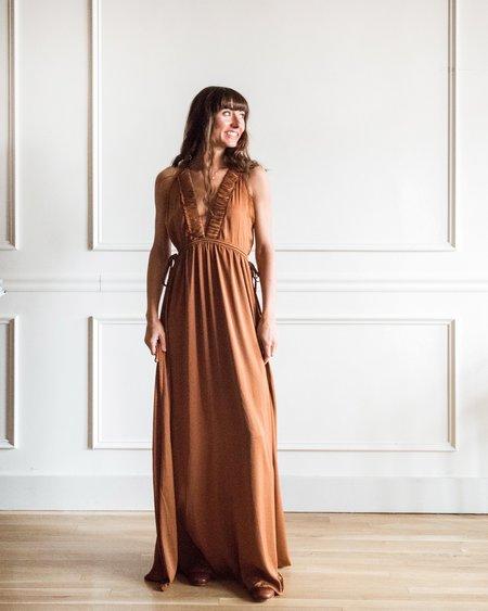 Grade & Gather V Neck Maxi Dress - Rust