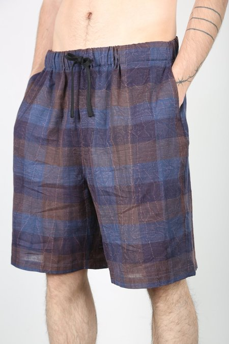 s.k. manor hill LOUNGE SHORT - Blue / Purple Plaid
