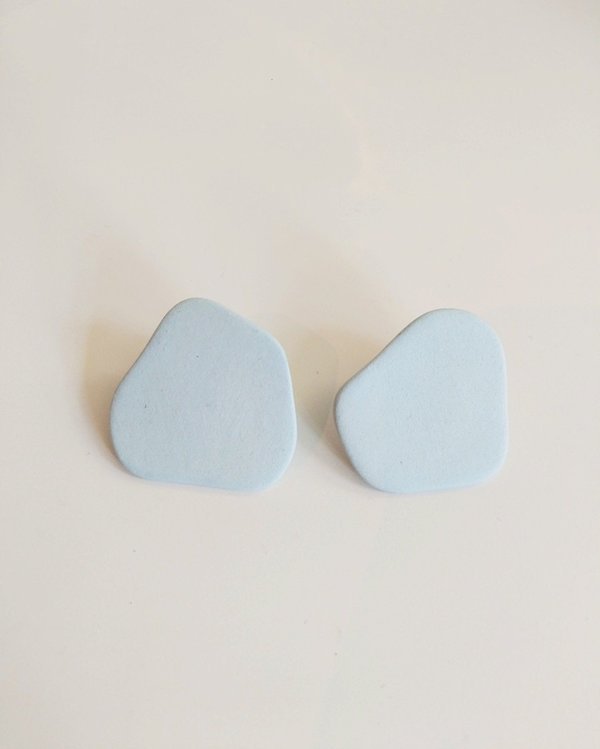 Four Eyes Ceramics Blob Earrings - Moon
