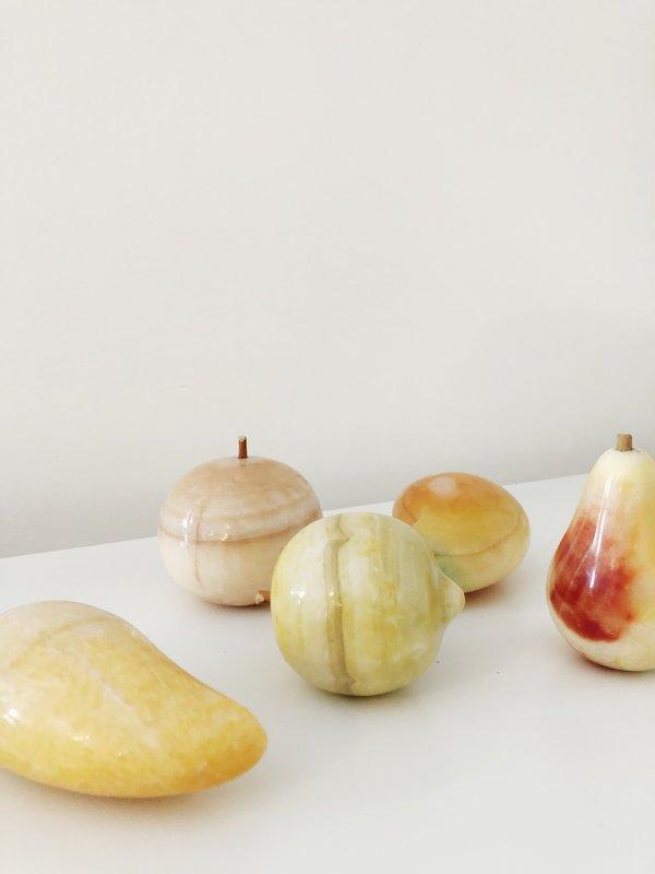 Vintage MID-CENTURY MARBLE FRUIT SET