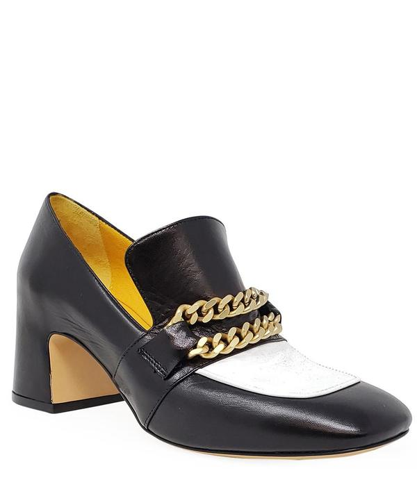 Madison Maison by MARA BINI HEEL LOAFER - BLACK/WHITE