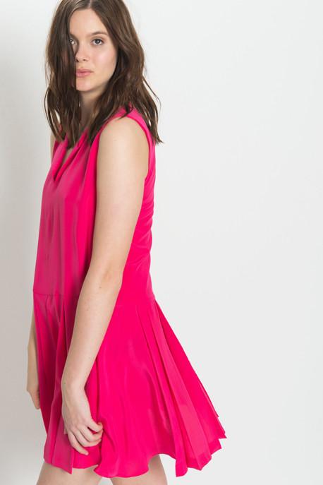 Cacharel - Sleeveless Pleated Dress in Fuschia