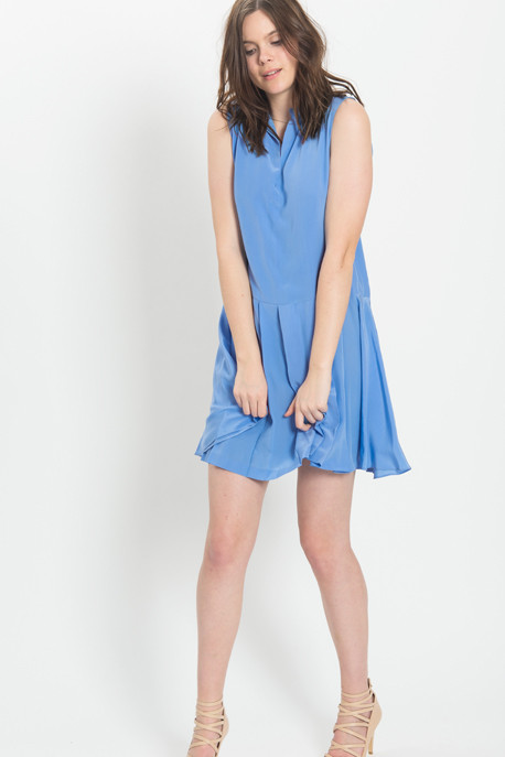 Cacharel - Sleeveless Pleated Dress in Periwinkle Blue
