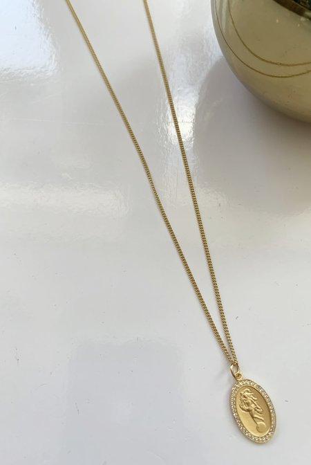 Miansai Fortuna Pendant Necklace with White Sapphires - Gold Vermeil