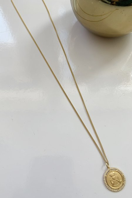 Miansai Test of Time Pendant Necklace with White Sapphires - Gold Vermeil