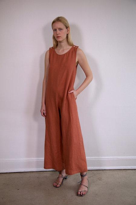 Town Clothes Big Mac Linen Jumpsuit - Clay