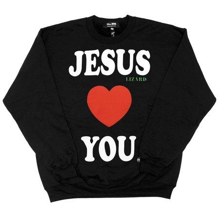 Skim Milk JESUS LIZARD LOVES YOU sweater - black
