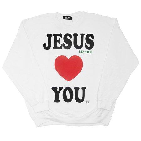 Unisex Skim Milk JESUS LIZARD LOVES YOU sweater - white