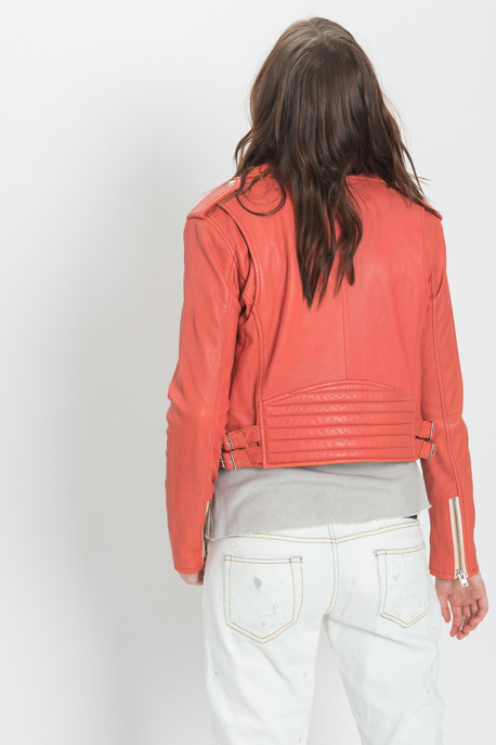 IRO - Zefir Cropped Leather Jacket in Coral