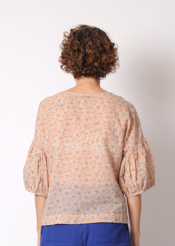 Modaspia Lantern Sleeve Blouse - fawn floral