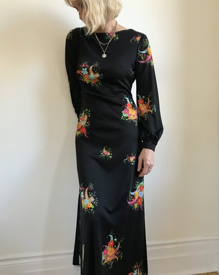 VINTAGE Holt Renfrew 1970's Jersey Floral Print Dress - Black