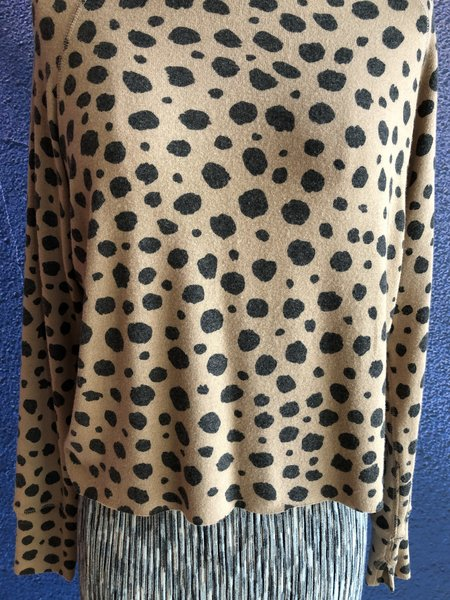 LnA Brushed Cheetah Raw Edge Pullover - Cheetah