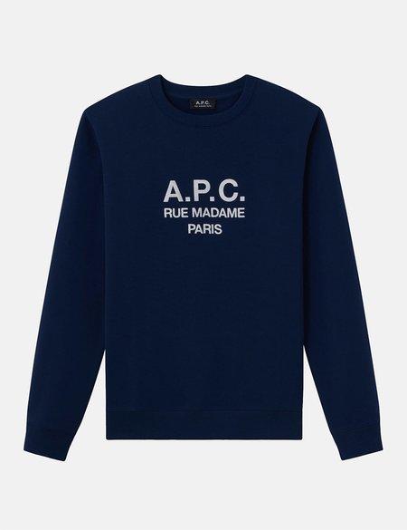 A.P.C. Rufus Embroidered Logo Sweatshirt - Marine/Dark Navy
