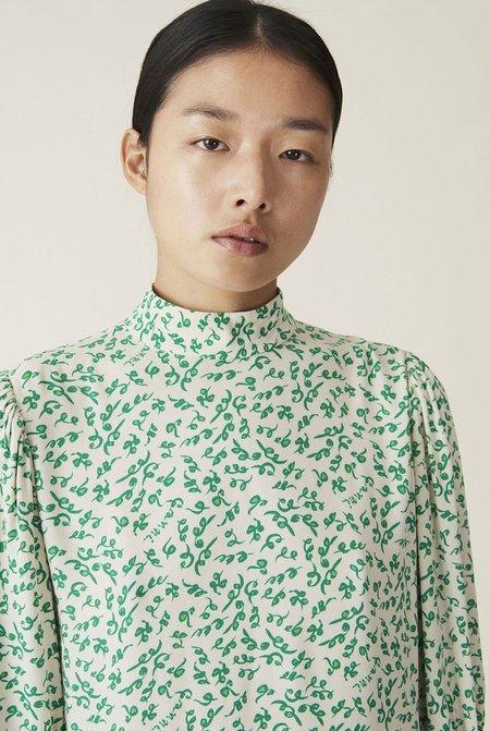 Ganni Printed Crepe Mini Dress - Green