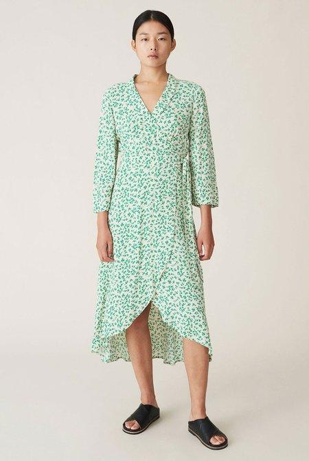 Ganni Printed Crepe Wrap Dress - Green