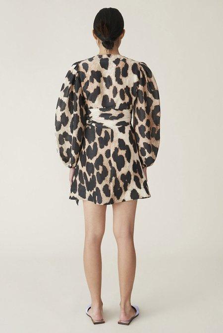 Ganni Silk Linen Wrap Dress - Leopard