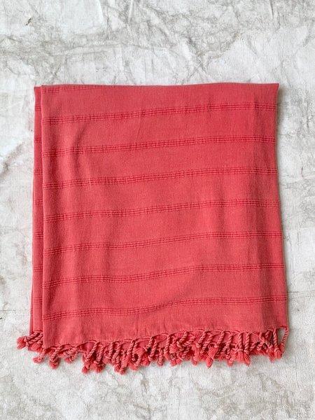 Cuttalossa & Co. Large Turkish Cotton Blanket - Coral