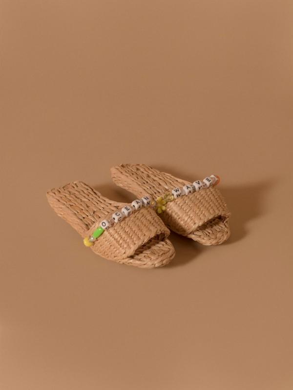 Ocean Waves Straw Sandal Slippers