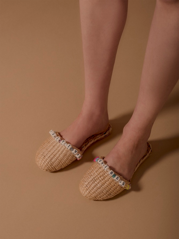 Positive Vibes Straw Slippers