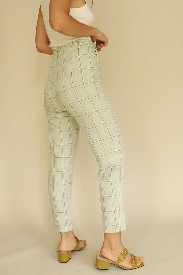 Frnch Plaid Pants - Pistachio Green