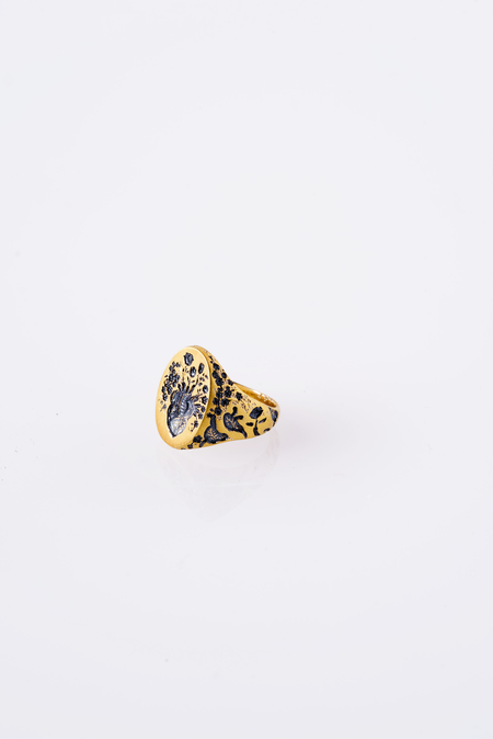 CASTRO SMITH 9K HEART RING IN GOLD + BLUE RHODIUM