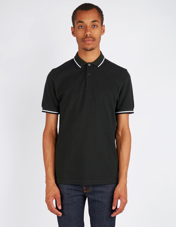 men 39 s fred perry slim fit twin tipped polo hunting green. Black Bedroom Furniture Sets. Home Design Ideas