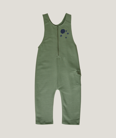 Kids Granelito Organic Pima Cotton Overall with Moon Embroidery - Forest Green