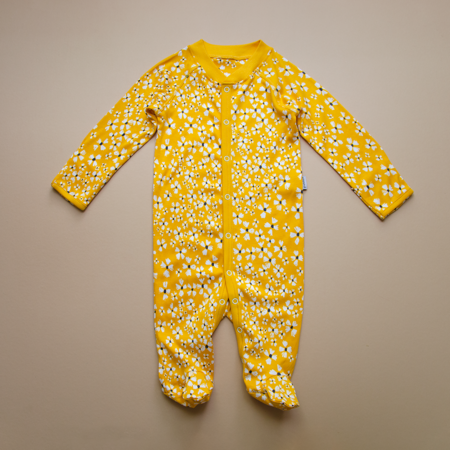 kids Granelito Printed Organic Pima Cotton Jumpsuit - Yellow