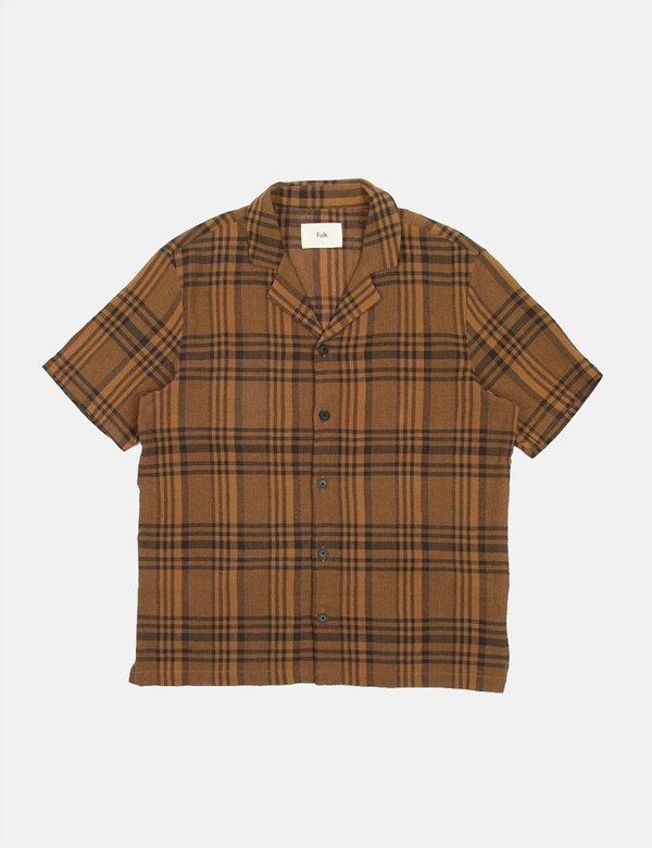 Folk Clothing Folk Soft Collar Shirt (Overdyed Crepe Check) - Teak