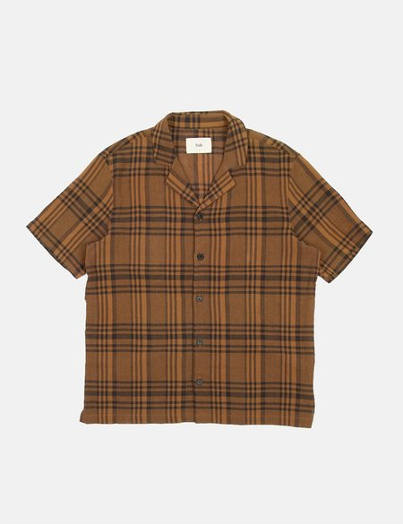 Folk Clothing Folk Soft Collar Shirt (Overdyed Crepe Check) - Teak