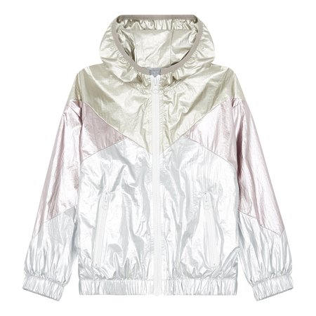 Kids hundred pieces shiny waterproof windbreaker jacket - silver