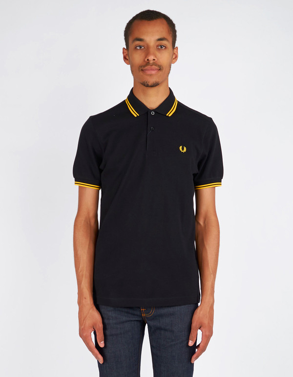 fbc668960 Men s Fred Perry Slim Fit Twin Tipped Polo Black New Yellow