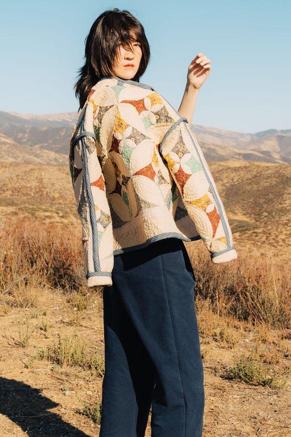 Jess Meany Patchwork Medallion Juniper Cropped Coat