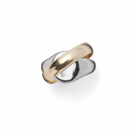 Lady Grey Perennial Ring Set Silver and 14K Gold Plated Bronze