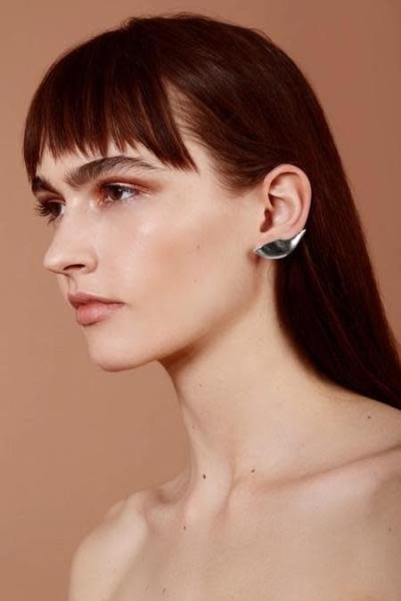 Lady Grey Lobe Ear Cuff - Silver Plated Bronze