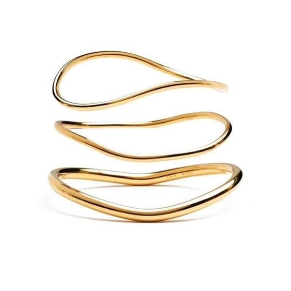 Lady Grey Wave Bangle Set - 14k Gold Plated Bronze