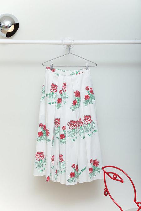 Sisterwife Vintage Rosie Assoulin 'Say It With Flowers' Poplin Skirt - White