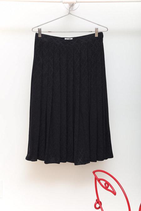 Vintage 1970s Hermès Silk Jacquard Logo Pleated Skirt