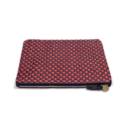 Clare V. Flat Clutch - Navy & Red Check