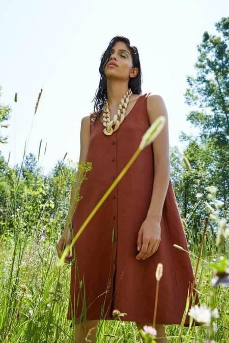 Eve Gravel Nymphea Dress - Mahogany