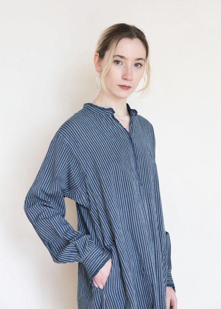 Injiri India Victoria Dress - Indigo Stripe