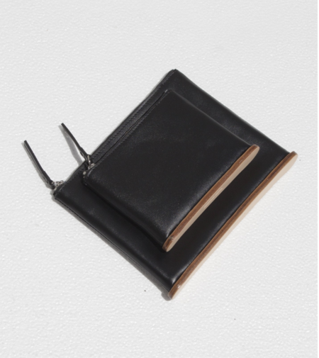 Building Block Medium Standing Pouch - Black Leather