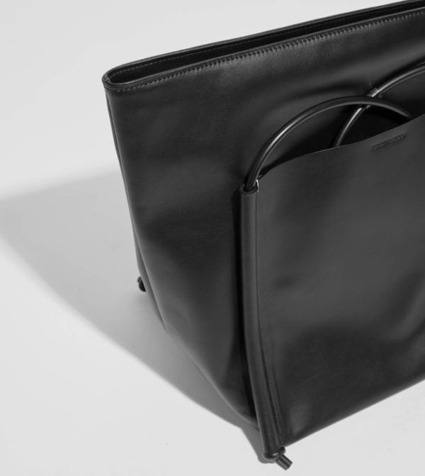 Building Block Pocket Tote - Black Leather
