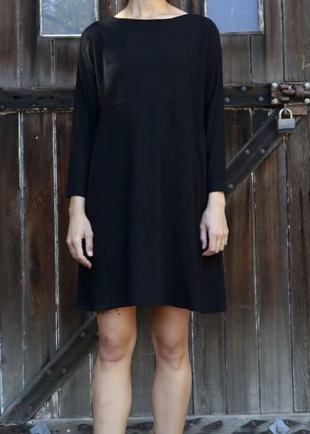 Me & Arrow Linen Mid Sleeve Basic Dress - Black