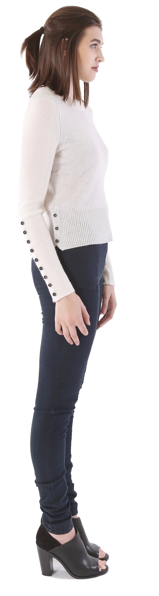 White + Warren Cashmere Button Detail Crewneck