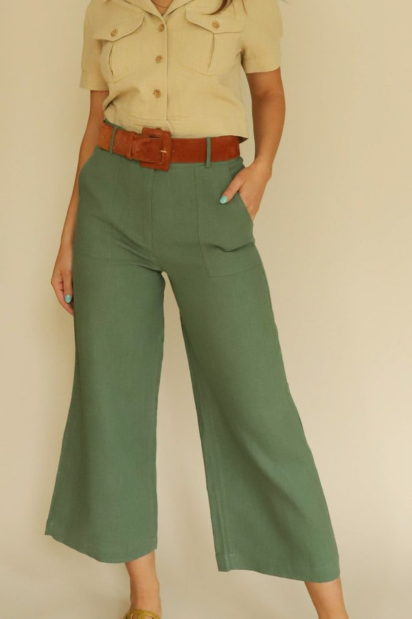 FRNCH Linen Wide Leg Pants - Green