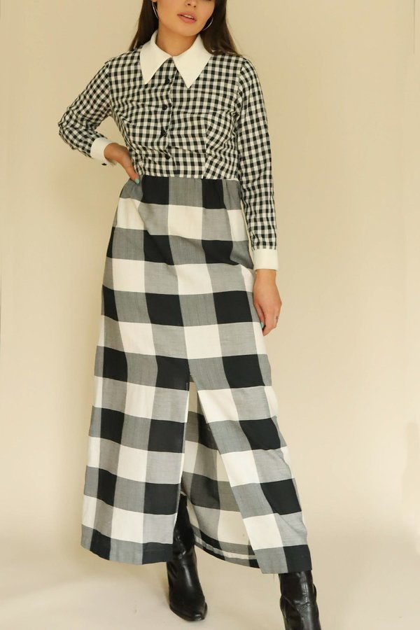 Vintage Pointed Collar Gingham Dress - Black/White